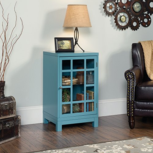 "Sauder 420140 Carson Forge Display Cabinet, L: 17.91"" x W: 15.75"" x H: 27.56"", Indigo Blue finish"