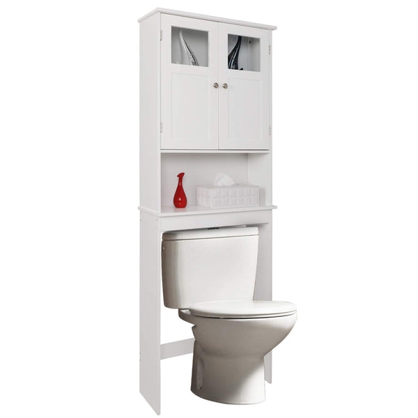 "Bonnlo Bathroom Over Toilet Space Saver, Wall-Mounted Standing Double Door Storage Cabinet Tower with Adjustable Shelf White 23 1/4""(L) x 8 11/16""(W) x 66 15/16""(H)"