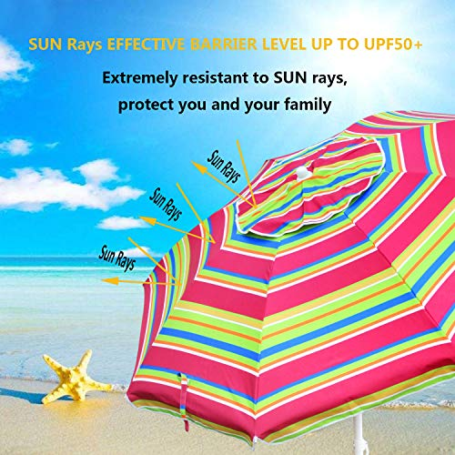 Snail 6.5 feet Beach Umbrella Silver Coating Inside Sun ray Protection UPF50+ Fiberglass Ribs with Integrated Sand Anchor,Include Carry Bag,Yellow,Blue,Multi-Color