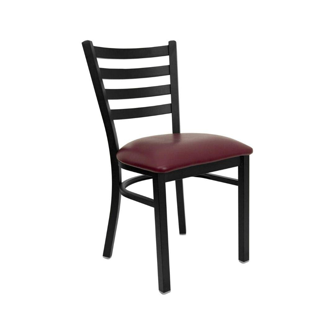 Flash Furniture 4 Pk. HERCULES Series Black Ladder Back Metal Restaurant Chair - Black Vinyl Seat