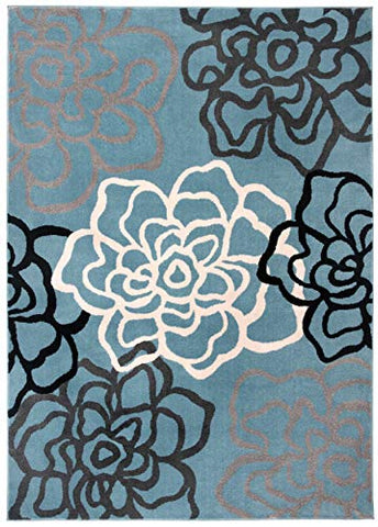 "Contemporary Modern Floral Flowers Gray Area Rug 7' 10"" X 10' 2"" by Rugshop"