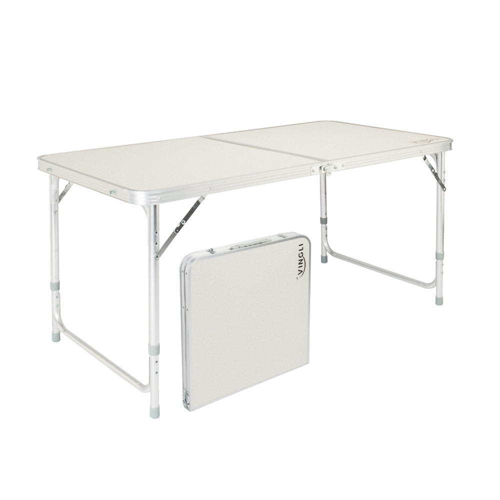 VINGLI 4 Foot Folding Table with Adjustable Height & Carry Handle,Outdoor Picnic Camping Dining Table, Aluminum Utility Suitcase Desk