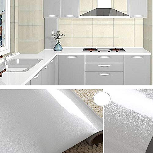 "WooYangFun Waterproof High Gloss Glittery Vinyl Pearl Self Adhesive Contact Paper, Peel-Stick Film, for Covering Kitchen Counter Top Cabinet Wardrobe Furniture(24""x196"", White)"