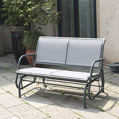 SUPERJARE Outdoor Swing Glider Chair, Patio Bench for 2 Person, Garden Loveseat, Rocking Seating - Gray