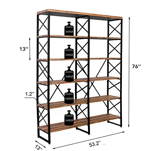 "IRONCK Bookshelf, Double Wide 6-Tier 70"" H Open Bookcase Vintage Industrial Style Shelves Wood and Metal Bookshelves, Home, Office Furniture"