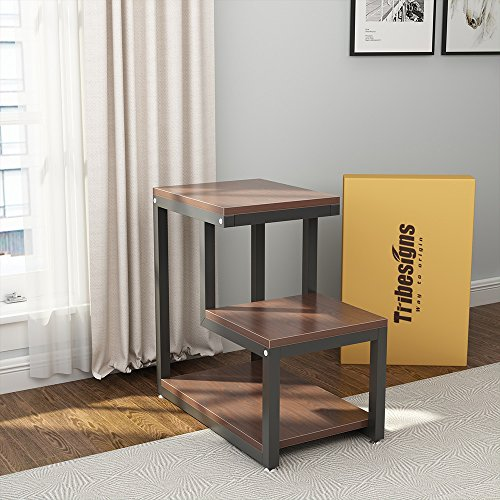 Tribesigns Rustic End Table, 3-Tier Chair Side Table Night Stand with Storage Shelf for Living Room, Bedroom (Espresso)