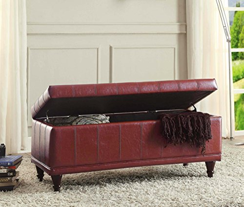 Homelegance 4730PU Faux Leather Lift Top Storage Bench with Tufted Accents, Dark Brown
