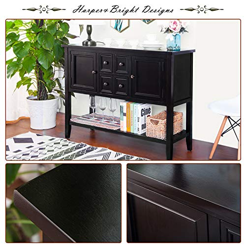 P PURLOVE Console Table Buffet Table Sofa Table Sideboard with Four Storage Drawers Two Cabinets and Bottom Shelf (Black)