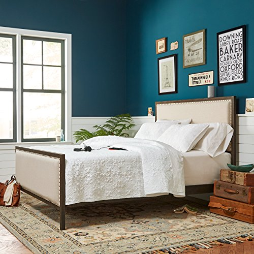 "Stone & Beam Avondale Nailhead Trim King Bed with Headboard, 79.5""W, Stone"