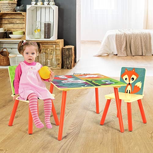 Costzon Kids Table and 2 Chair Set, Wooden Table Furniture for Children Toddler, Creation Inspiring Activity Table Desk Sets for Playing Studying in Bedroom, Playroom, Kindergarten