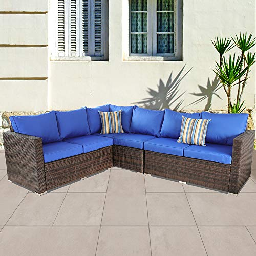 Outside Rattan Sofa Patio Furniture PE Rattan w/Cushion Outdoor Conversation Seating Pool Deck Couch Brown Wicker Royal Blue Cushion