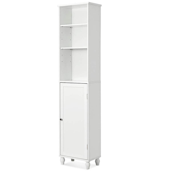 Giantex Storage Cabinet Wood Bathroom Floor Cabinet Tower Shelf Cabinet with Adjustable Shelves,15.0''x9.0''x 63.5'' White