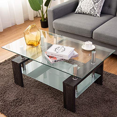 Tangkula Glass Coffee Table Modern Simple Style Rectangular Wood Legs End Side Table Living Room Home Furniture with Shelf (Black)