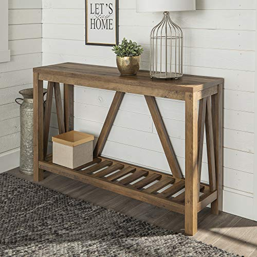 "WE Furniture AZ52AFTDC Entryway Table, 52"", Dark Concrete/Rustic"