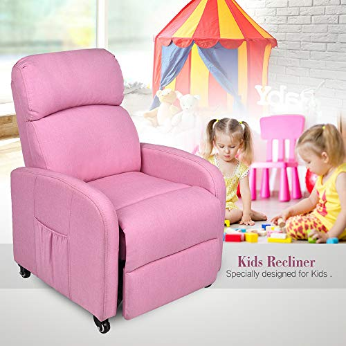 PULUOMIS Pink Kids Armchair Denim Children's Furniture Recliner Chair with Cup Holder Upholstered Chair