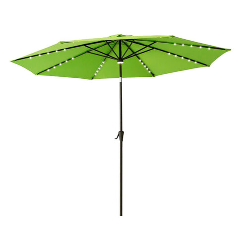 FLAME&SHADE 10' Outdoor Patio Market Umbrella with Solar Power LED Lights and Tilt for Outside Terrace Table or Garden Deck, Beige