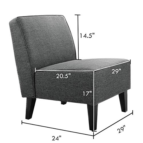 Giantex Upholstered Armless Accent Fabric Chair w/Wood Legs, Comfy Single Sofa Modern Slipper Chair for Living Room, Bedroom Furniture, Gray