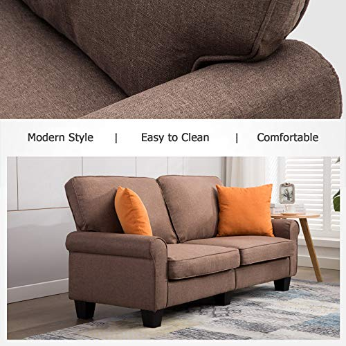 Mecor Loveseat Sofa Linen Fabric Loveseat Couch 70 Inch Sofa with Scroll Arm Classic Modern Living Room Furniture (Grey)