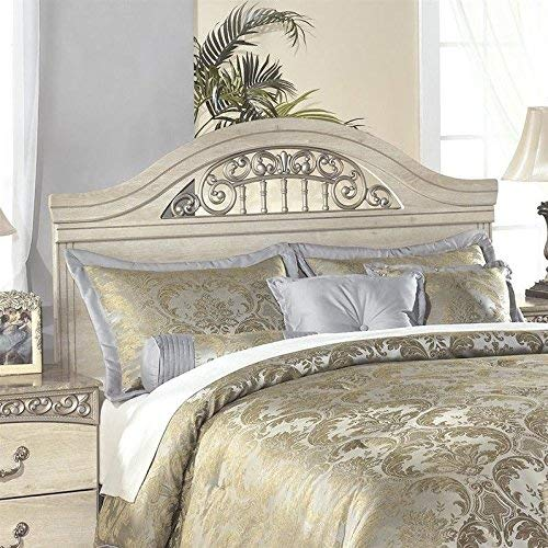 Ashley Furniture Signature Design - Catalina Panel Headboard - Queen/Full - Component Piece - Faux Marble Accents - Traditional - Antique White