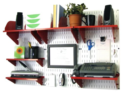 Wall Control Office Organizer Unit Wall Mounted Office Desk Storage and Organization Kit Black Wall Panels and Black Accessories