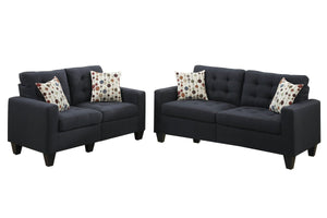 Poundex F6903 Sectional Set, Black