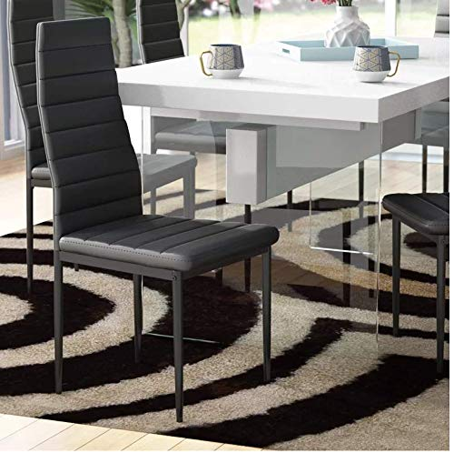 IDS Online 7 Pieces Modern Glass Dining Table Set Faxu Leather With 6 Chairs Black.