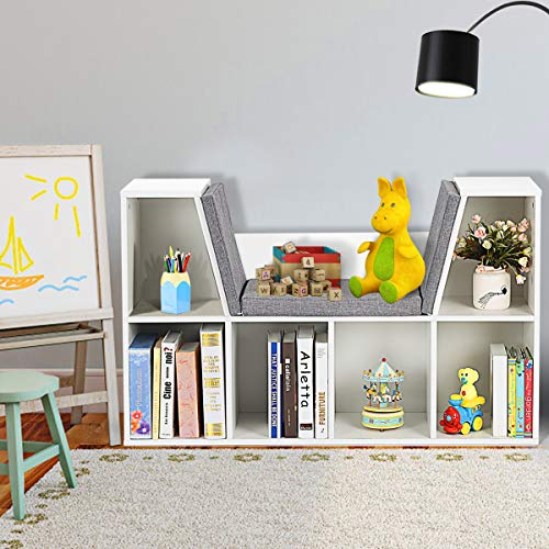 Costzon 6-Cubby Kids Bookcase w/Cushioned Reading Nook, Multi-Purpose Storage Organizer Cabinet Shelf for Children Girls & Boys Bedroom Decor Room (White)