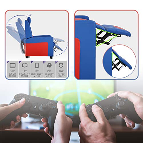 FDW Recliner Chair Gaming Chairs for Adults Gaming Video Game Chairs Recliner Couch Gamer Chair Reclining Home Movie Theater Sofa Single Living Room Furniture Seat Comfortable, Blue