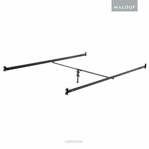 MALOUF Structures Hook-on Metal Bed Rails with Center Bar and Adjustable Height Support Foot, Twin/Full, Black