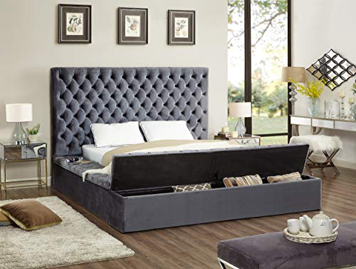 Meridian Furniture BlissBlack-Q Bliss Collection Modern | Contemporary Black Velvet Upholstered Bed with Deep Tufting, with Storage Rails and Footboard, Queen,