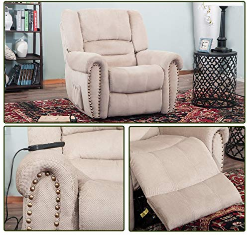 Large Power Lift Chair Recliner Sofa for Elderly Help Standing with Remote Control Living Room Furniture (Beige)