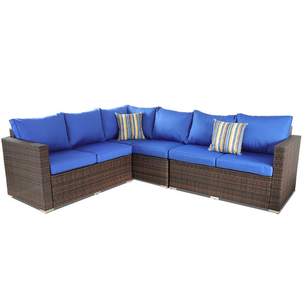 Rattan Patio Sofa Sofa Outdoor Furniture Brown PE Rattan w/Dining Table Pool Deck Seating