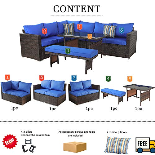 Outdoor Furniture Dining Sofa Set Patio Garden Seating Brown Wicker Royal Blue Cushion 5-Piece