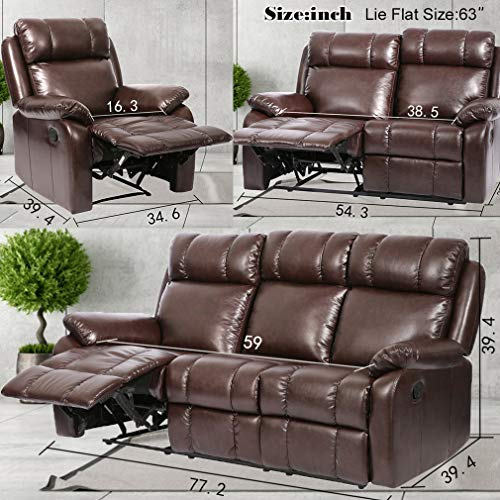 Sofa Set Recliner Sofa 3 PCS Motion Sofa Loveseat Recliner PU Leather Sofa Recliner Couch Manual Reclining Chair3 Seater for Living Room