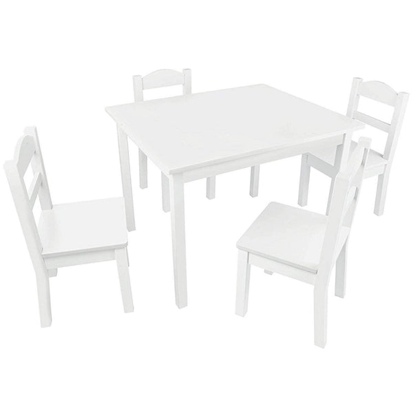 Pidoko Kids Table and Chairs Set - 4 Chairs and 1 Activity Table for Children - Educational Toddlers Furniture Set (White)