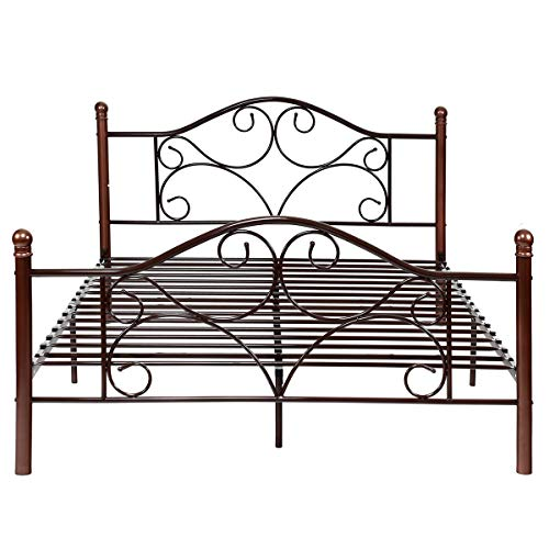 Giantex Queen Size Platform Bed Frame 9-Leg Support Mattress Foundation Metal Base Home Bedroom Furniture with Sturdy Metal Slats and Vintage Headboard and Footboard, Chocolate