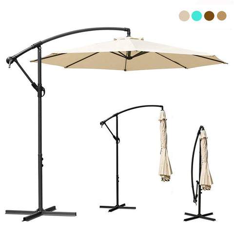 YOHOZ 10ft Deluxe Outdoor Patio Umbrella - Offset Cantilever Sun Umbrella, Hanging Shade Umbrella w/Crank Lift System | Cross Base with Heavy Duty 250g/sqm Polyester PA Coating