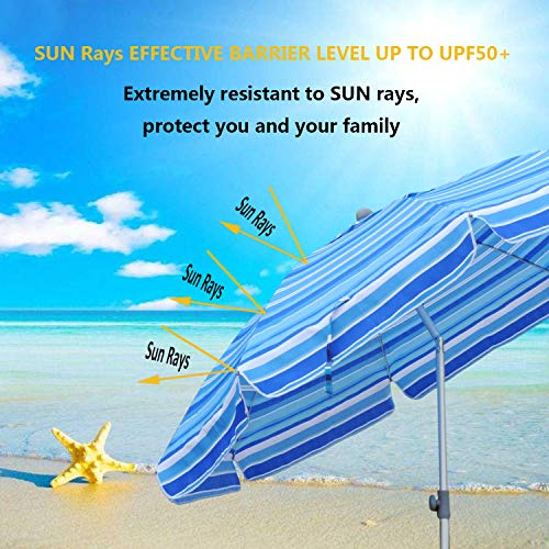 Snail Beach Umbrella Sand Anchor with Tilt Aluminum Pole, Portable UV 50+ Protection Beach Umbrella with Carry Bag for Outdoor Patio, Yellow/Blue