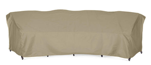 "SunPatio Outdoor XL Crescent Curved Sofa Cover, 190""L/128""L x 36""W x 39""H, Lightweight, Water Resistant, Eco-Friendly, Helpful Air Vent, All Weather Protection, Neutral Taupe"