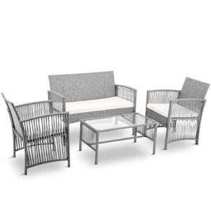 Hooseng Hoosng 4 Pieces Furniture Rattan Chair & Table Patio Set Outdoor Sofa for Garden, Backyard, Porch and Poolside, White