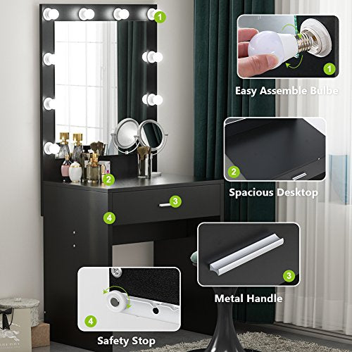 Tribesigns Vanity Set with Lighted Mirror, Makeup Vanity Dressing Table Dresser Desk with Large Drawer for Bedroom, Black (10 Cool LED Bulbs)