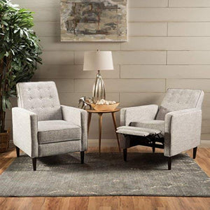 Christopher Knight Home 300971 Marston Mid Century Modern Fabric Recliner (Set of 2) (Light Grey Tweed),