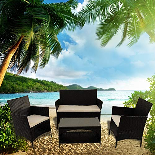 KTOP 4 Pieces Rattan Patio Furniture Sofa Set Outdoor Sectional Furniture Conversation Chairs Set with Cushions and Tea Table (White)