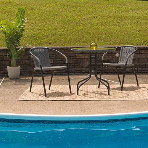 "Flash Furniture TLH-087RD-037BK2-GG Tlh-087Rd-037Bk2-Gg Round Glass Metal Table With  Rattan Edging And 2  Rattan Stack Chairs, 28"", Black"