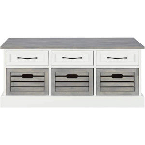 Coaster 501196 CO-501196 Storage Bench, White/Weathered Gray