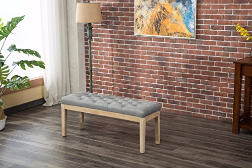 Roundhill Furniture CB171GY Mod Urban Style Solid Wood Button Tufted Fabric Dining Bench, Grey