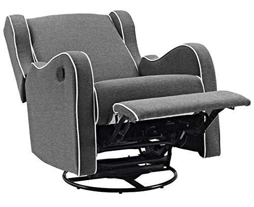 Angel Line Rebecca Upholstered Swivel Gliding Recliner, Dark Gray Linen with White Piping