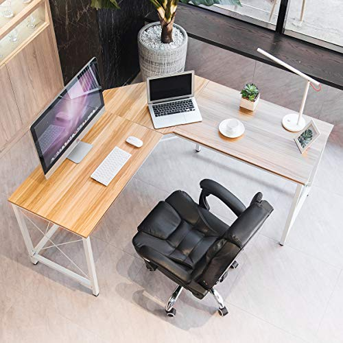 "Mr IRONSTONE L-Shaped Desk Corner Table Computer Desk 59"" PC Laptop Study Writing Table Workstation for Home Office"