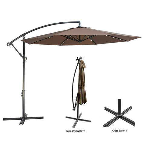 10ft Deluxe Solar Power Outdoor Umbrella - Offset Cantilever Sun Umbrella Patio. Hanging Shade Umbrella w/32 LED Lights | Crank Lift System | Cross Base. Heavy Duty 250g/sqm Polyester PA Coating