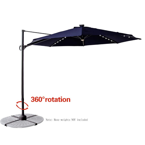 C-Hopetree 10' Hanging Offset Cantilever Umbrella Market Style with Tilt for Outdoor Patio Table Outside Sun Deck Large Poolside Shade, Beige